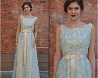 Ruffled Gown | vintage 1950s gown | pale blue ruffled chiffon cream 50s gown