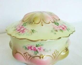 Porcelain , China Small Covered Pin Dish, Moritz Zdekauer Austria