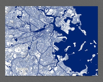 Boston Massachusetts, Boston Map, City Map Art Print, Navy Blue
