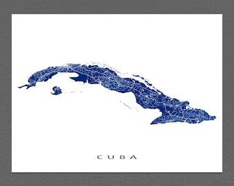 Cuba Map Print, Cuban Art, Caribbean Island Maps