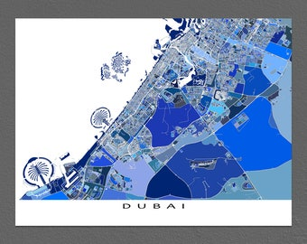 Dubai Map Print, Dubai Poster, United Arab Emirates City Maps