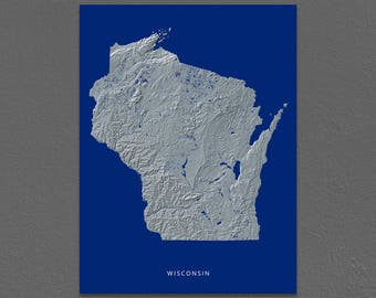 Wisconsin Map, Wisconsin Wall Art, WI State Art Print, Landscape, Navy Blue