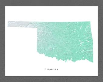 Oklahoma Map Print, Oklahoma State, Aqua, OK Landscape Art