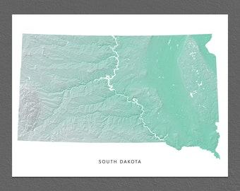 South Dakota Map Print, South Dakota State, Aqua, SD Landscape Art