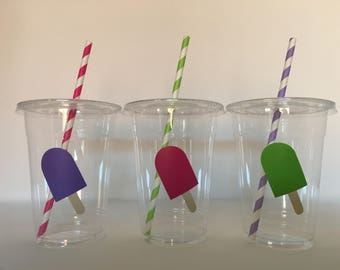 Popsicle party cups, Popsicle Birthday Party Cups, Popsicle Party Favors, Popsicle baby Shower  Cups, Summer Party Cups