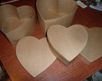 "Paper Mache Heart Set 9 1/2 ,8 3/4 & 7 3/8"" With Lids"
