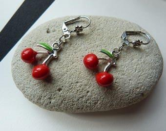 Earrings cherry clasp latch