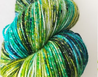 Sea Turtles, hand painted yarn, sparkle yarn, dyed to order