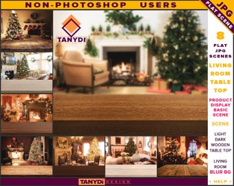 Empty Table Top JPG Interior Scene LRT-C2 | Non-Photoshop | Xmas Living Room Blur Bg | Light Dark Wood Table | Product Display Scene