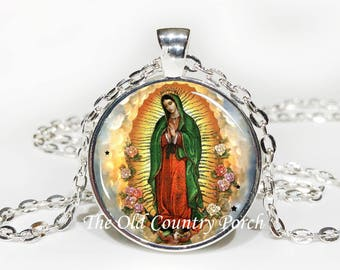 Our Lady of Guadalupe (Nuestra Virgen de Guadalupe)-Glass Pendant Necklace/Christian Catholic/Religious Jewelry/Patron Saint/Baptism Gift