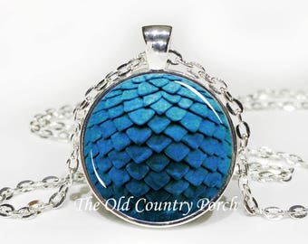 Blue Dragon Egg-Glass Pendant Necklace/Gift for him/fantasy art gift/Mystic dragon