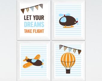 Airplane and balloon nursery printable art set, custom colors, let your dreams take flight boys room decor, playroom airplane art download