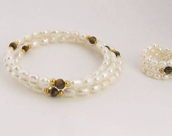 Cultured Pearls and Tiger's Eye Memory Wire Bracelet and Ring - Free Shipping in the US!