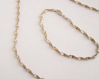 On Sale! Elegant Vintage 18K Yellow Gold Vermeil Twisted Strand Necklace and Bracelet