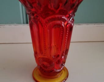 Vintage LE Smith Amberina Glass Vase, USA