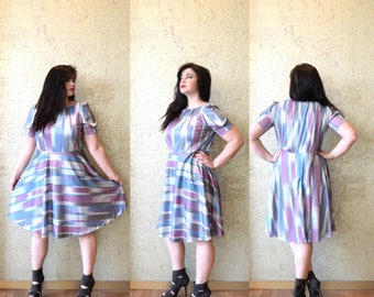 Vintage 1980s Blue Pink and Gray Stripe Print Dress Casual Day Metallic Summer Fall A Line Preppy Large L XLarge XL Plus Size 14 16 1x