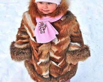Little girl's real fox fur coat