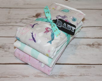 Modern Baby Burp Cloth~Set of 3~Mermaid Lullaby~Baby Shower Gift