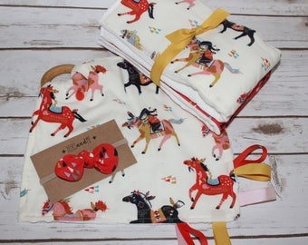 Modern Baby Gift~Organic Burp Cloths, Teether and  Nylon Bow Set