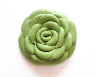 Green Leather Rose Leather Brooch Leather Flower Brooch For Woman Gift Idea For Her Leather Jewelry