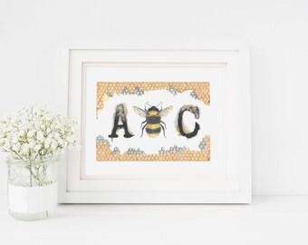 Bumblebee illustration, Alphabet Illustration, Bee Art Print, Bumblebee Art, Honeycomb Print, Playful Illustration,Letter Art print, A Bee C