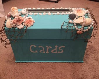 Wedding Beach money envelope card box Birthday baby Blue New shells sand Simple Elegant