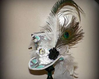 On Sale- Fascinator Top Hat Mini Green White Mad Hatter Gothic Cosplay Costume Steampunk Bridal Kentucky Derby Wonderland Tea Party