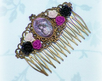 Gypsy Hair Comb Purple Black Vintage Style Bridal Victorian Rose Cameo Gyspy Boho  Steampunk Wedding Gothic Bohemian