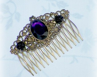 Hair Comb Purple Victorian Vintage Style Gothic Bridal Black Rose Gyspy Boho  Steampunk Wedding Gothic Bohemian