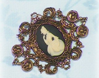 Victorian Cameo Pin Brooch Black Classic Lady Gothic Vintage Style Steampunk Antique Gold Style