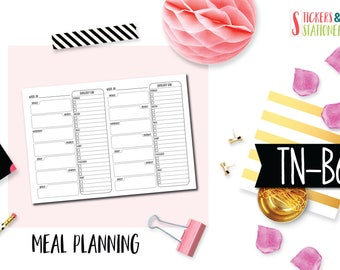 B6 Meal Planning Inserts for Travelers Notebooks.