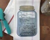 Full Color Family Recipe Towel in original Writing
