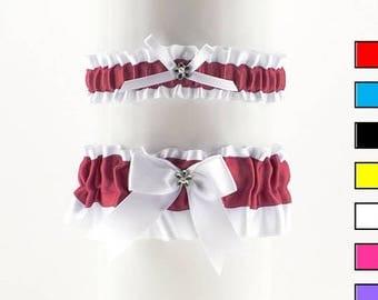 Wedding garter set, white burgundy satin garter,  wedding lingerie handmade white garter, rustic boho wedding bridal garter, plus size 0R