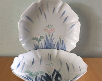 Lovely pair of Floral Lite Japan ceramic plates pink & green iris flowers blue leaf design scalloped edge for tropical Old Florida home!