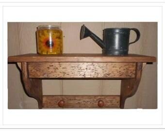 """20 1/2"""" Wooden Wall Shelf Hidden Compartment Knobs"""