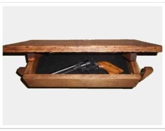 """18 1/2"""" Wooden Wall Shelf Hidden Compartment"""