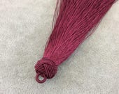 "6"" Knot Capped Wine Red Silk/Polyester Thread Tassel - Measuring 15mm x 180mm, Approx. - 30+ Colors Available, See Related Items!"