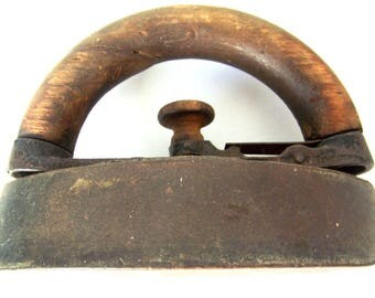 Antique Early Patent Applied 1895 Mini Sad Iron with Wood Handle and Trigger Release