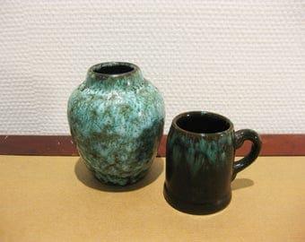Set of 2 Vintage Mint Green Vases
