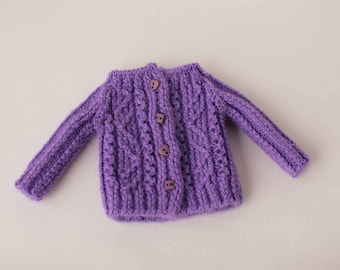 Blythe cardigan, Amethyst color sweater for Blythe, Licca, Pure Neemo S, 12 inch doll, Hand knitted doll clothes, Amethyst doll outfit