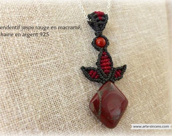 Macrame, red Jasper and Sterling Silver 925 pendant