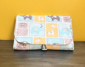 Travel Changing Pad, Diaper Clutch, Chevron, Elephant, Baby Boy Diaper bag, Baby Changing Mat, Portable Diaper Changing Pad