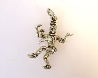 HINDU GOD SHIVA .925 Sterling Silver 3-D Charm Pendant Deities Four Arms Religion Hinduism India New fa12