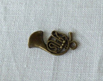 French Horn musical instrument charms bronze