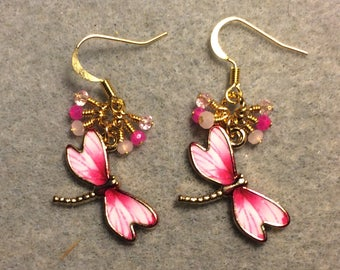 Light pink and hot pink enamel dragonfly charm earrings adorned with tiny dangling light pink and hot pink Chinese crystal beads.