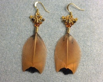 Brown and black pheasant feather earrings adorned with tiny dangling gold and amber Chinese crystal beads.