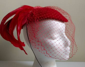 Vintage Red Wool and Feather with Net Hat.  Excellent condition!