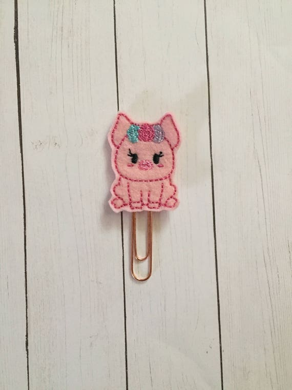 Pig with flowers Clip/Planner Clip/Bookmark. Woodland Planner Clip. Pig Planner Clip. Floral Planner Clip