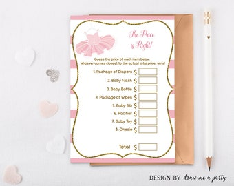 Price Is Right , Ballerina Price Is Right Game , Tutu Baby Shower Game , The Price is Right , Baby Price Is Right , Printable - PP01