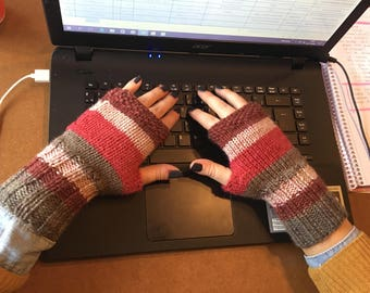 Fingerless Gloves, Stripes Gloves, Goth Gloves, Boho, Knit Fingerless gloves, Womens Fingerless, Mittens, Winter gloves, Winter Accessories